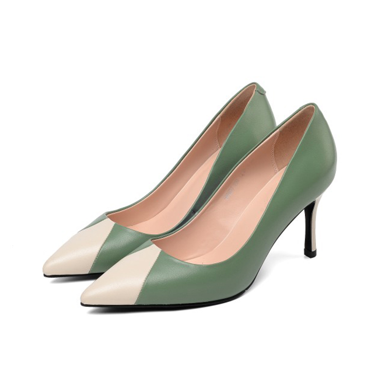 Gray Pompes Automne Bout Vache Femmes En Mljuese Hauts Chaussures Profonde Printemps Mélangées Robe Couleurs Peu Mariage De green Cuir Pointu 2019 Parti Dame Talons qEwpCpxB