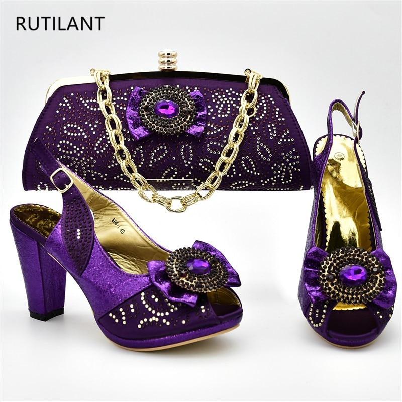 light or Verni Chaussures Et Pompes En Strass Les Sacs Cuir Décoré pourpre Assortis Bleu Africaines Purple Ensemble Avec Italiennes rqZrw7T