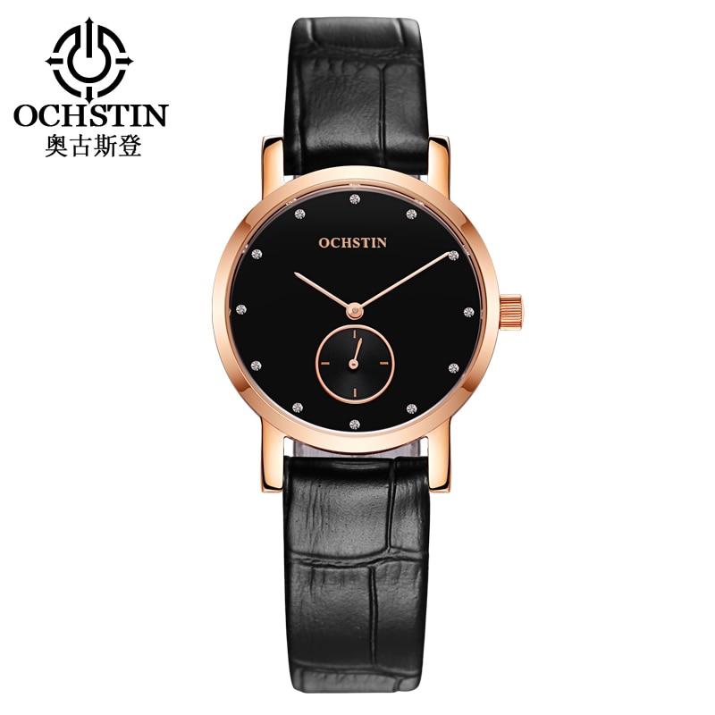 Men Watch Top Luxury Brand OCHSTIN Fashion Clock Women Watches Genuine Leather Strap Waterproof Quartz Wristwatches