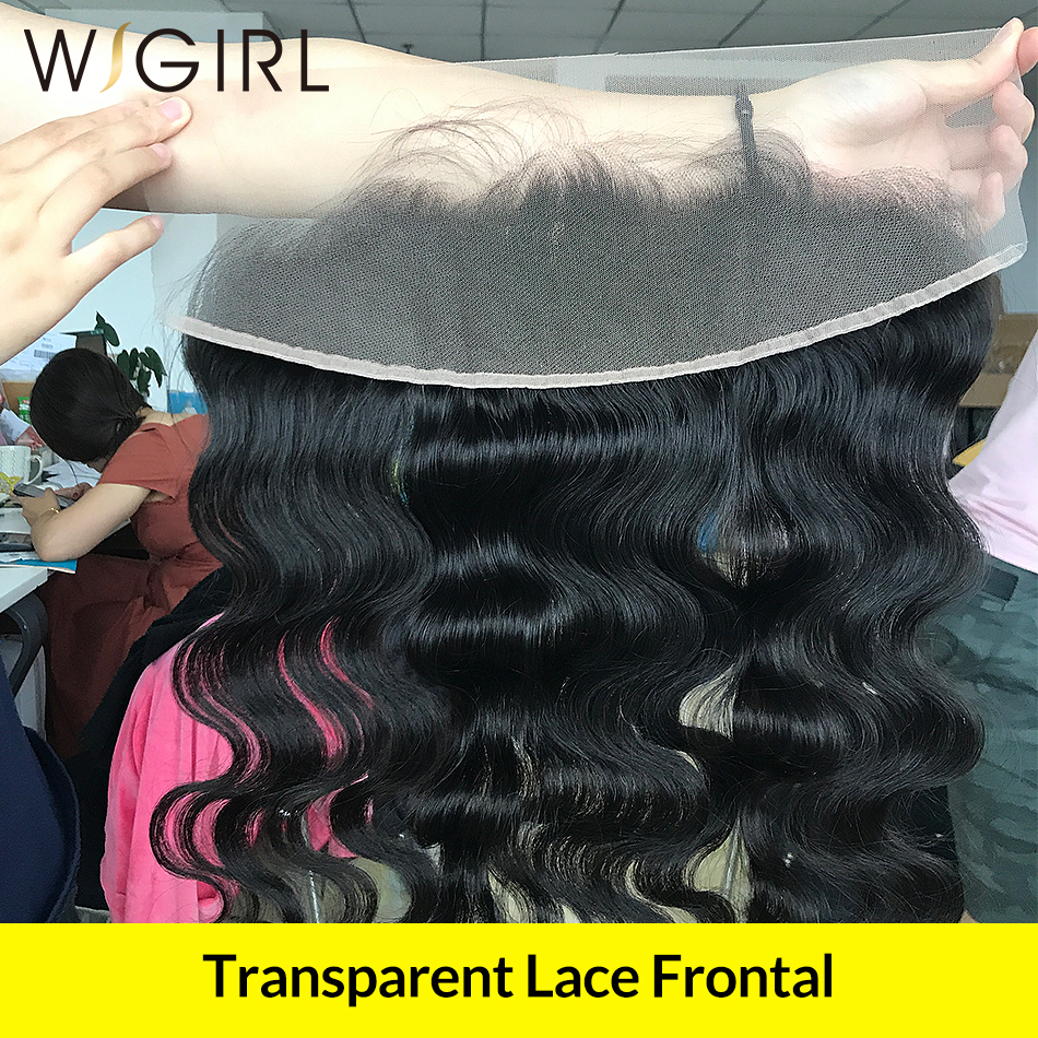Wigirl Transparent Swiss Lace Frontal Closure Body Wave Hair Bleached Knots Pre Plucked With Baby Hair
