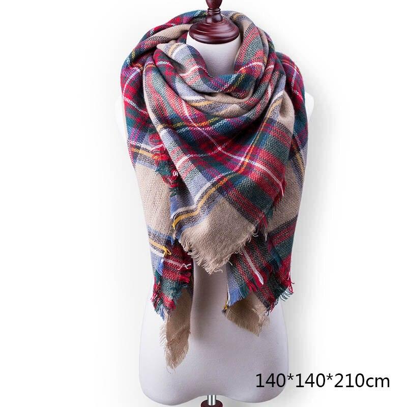 Горячая Распродажа, Модный зимний шарф, Женские повседневные шарфы, Дамское Клетчатое одеяло, кашемировый треугольный шарф,, Прямая поставка - Цвет: A6