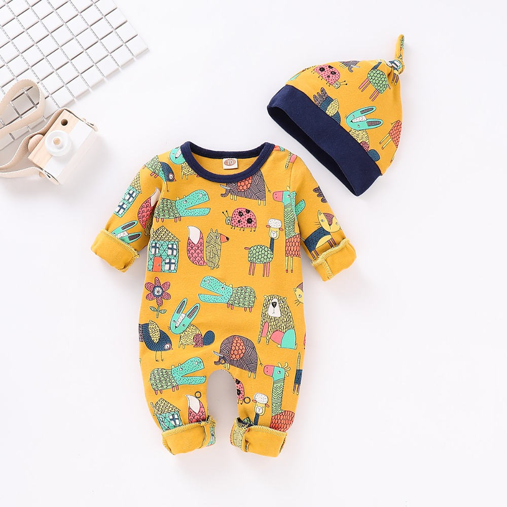 Autumn Baby   Rompers  +Hat 2pcs Newborn Boys Girls Jumpsuits Long Sleeve Infant Bebes   Romper   Cotton Toddler Kids Outfits 0-18Months
