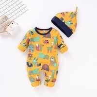 Outono bebê macacão + chapéu 2 pçs recém-nascidos meninos meninas macacões de manga longa infantil bebes macacão de algodão da criança crianças outfits 0-18months