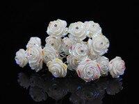 100PCS LOT WEDDING BRIDAL WHITE ROSE CRYSTAL HAIR PINS PROM NEW
