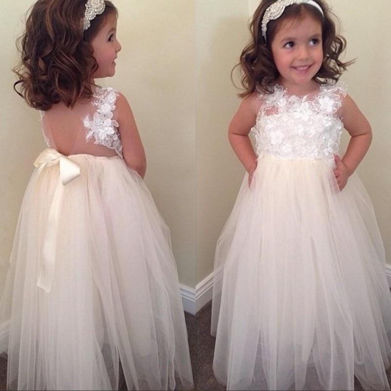 Beige 2018 Flower Girl Dresses For Weddings A-line Tulle Bow ...