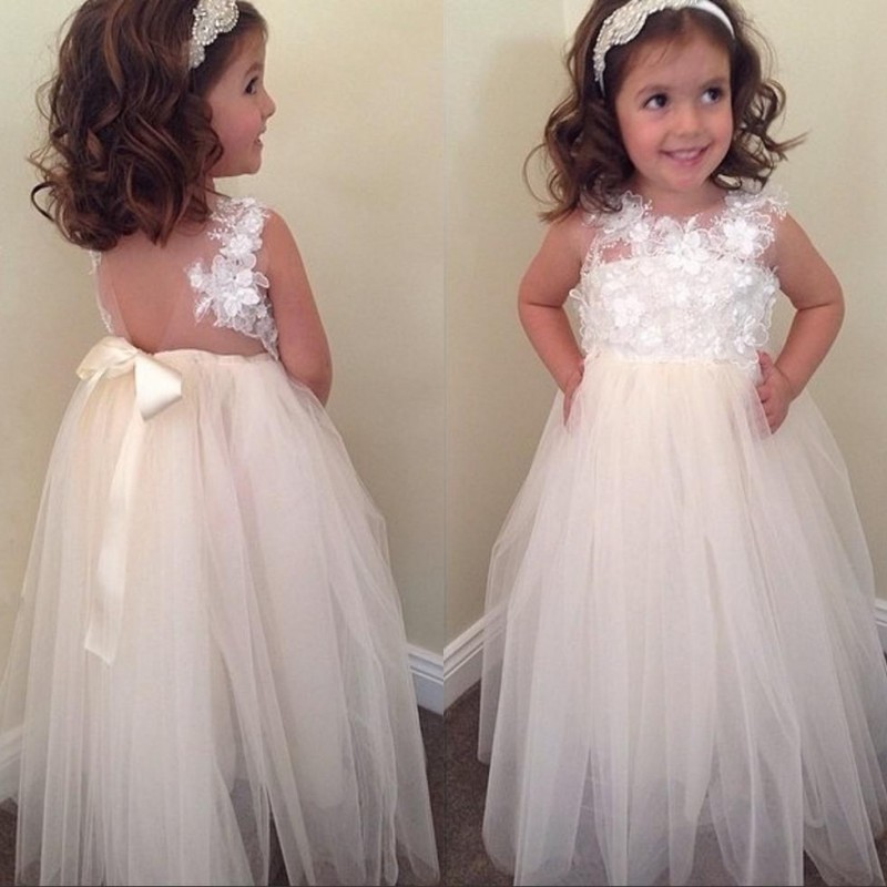 Beige 2019   Flower     Girl     Dresses   For Weddings A-line Tulle Bow Backless Long First Communion   Dresses   For Little   Girls