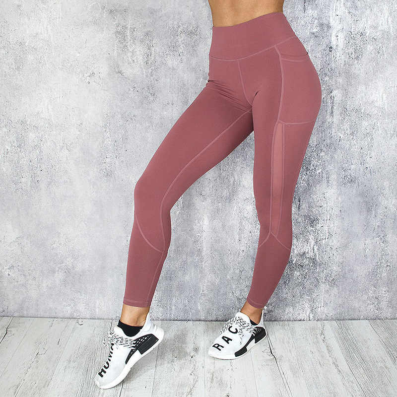 Леггинсы для фитнеса с сеткой, женские леггинсы с высокой талией и пуш-ап, Женские однотонные леггинсы с карманами, Feminina S-Xl