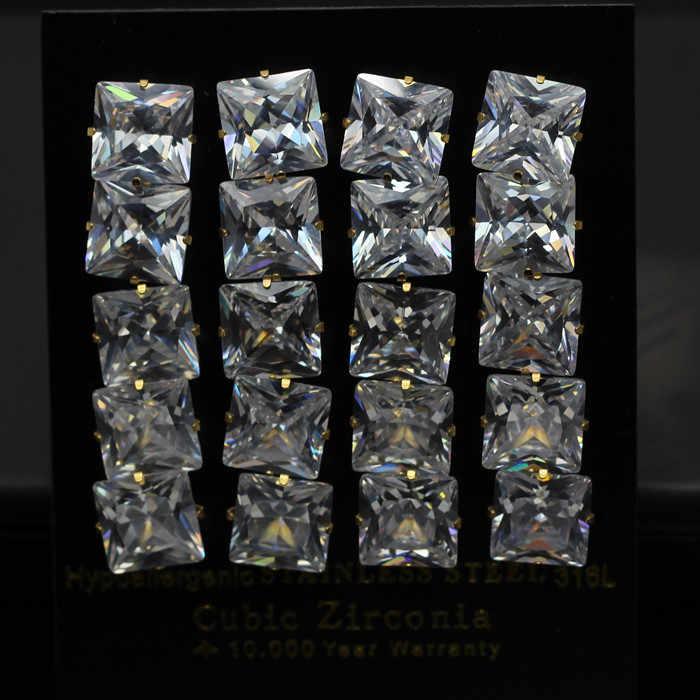 LUXUKISSKIDS 3-10mm 10 זוגות\חבילה ילדים ברור Stud עגילים לנשים גברים כיכר זירקון נירוסטה עגילי SetFashion תכשיטים