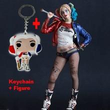 Fou Jouets Commando Suicide Harley Quinn Action Figure et Harley Quinn Porte-clés Poupée Anime Collection Modèle Jouet 26 cm Dans en boîte