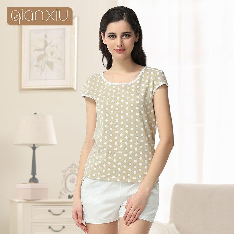 Pijamas Mujer Pyjamas Women Qianxiu Polka Dot Sleepwear Suit For Girl Summer Casual   Pajama     Sets   95%cotton Homedress   Set   1640