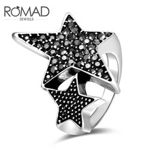 New Fashion 2 Black Star Silver Color Ring with Crystal for Women Size 6 7 8 Jewelry