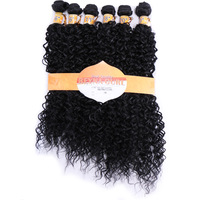 DELICE 16 20inch 6pcs Pack Black 1B Hair Weaving Kinky Curly Hair Extensions Weft Synthetic Hair