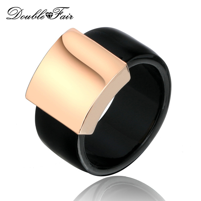 DFR344 Classic Square Glossy Metal Black Ring For Men and Women Rose Gold Color