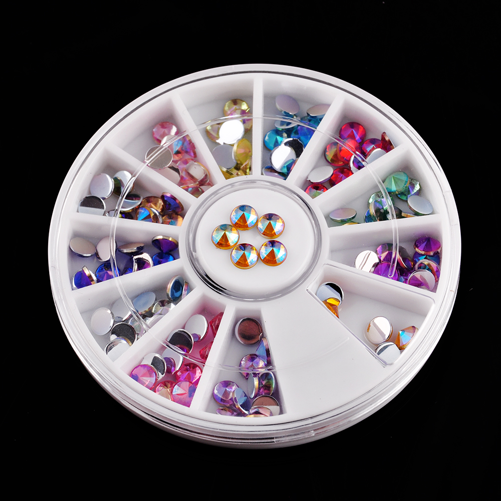 Fashion 12 mix color glitter diamond gems 3d design for Acrylic nail decoration supplies