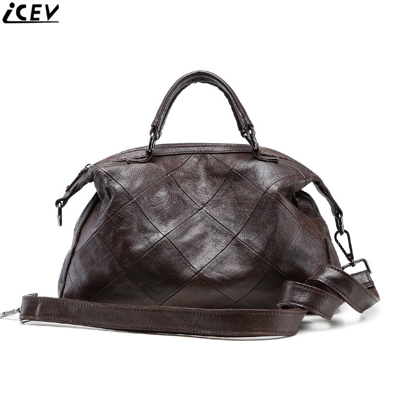 ICEV 2018 designer high quality cowhide messenger bag classic female 100% genuine leather tote bags handbags women famous brands icev 100