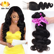 Aliafee Hair 4 Brazilian Body Wave Bundles Med Closure Deal Brasilian Hair Weave Non Remy 100% Human Hair Bundles With Closure