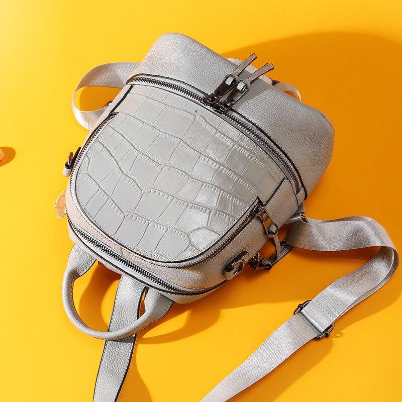 Sac à dos motif Crocodile Anti-vol femmes en cuir véritable Mini sac à dos noir fille sac à main minimaliste femme sac à bandoulière - 5