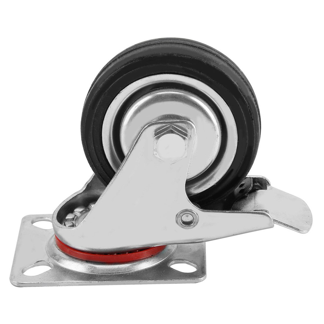 4x75mm New Heavy Duty Rubber Swivel Castor Wheels Brake Trolley Furniture Caster new  3   swivel wheels caster industrial