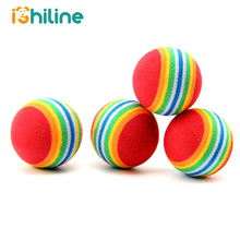 10Pcs Rainbow 3.5cm Cat Toy Ball Interactive Toys Play Chewing Rattle Scratch EVA Training Pet Supplies