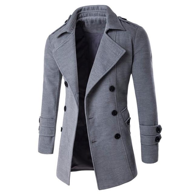 2016 Outono Inverno Quente Brasão Casual Trespassado Longo de Lã do Sobretudo Moda Turn Down Collar Plus Size Masculino Outwear
