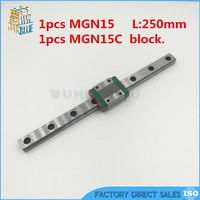 free shipping 15mm cnc linear motor block / carriage MGN15C + MGN15-250mm linear motion guide made in china