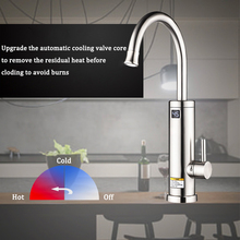 220V Kitchen Electric Water Heater Faucet Stainless Steel Rotation Instant Hot Water Heater Tap with Led Display EU/UK plug