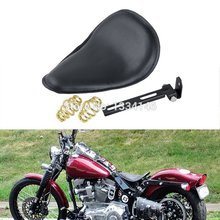 Motorcycle Deep Dish Black Leatheroid For Custom Harley Chopper Bobber Solo Seat With Mounting Kit
