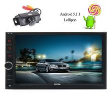 Free Camera Android 5.1 Quad Core Head Unit Double 2 Din Car Stereo without DVD Player in Dash Support Phone Link Bluetooth SWC