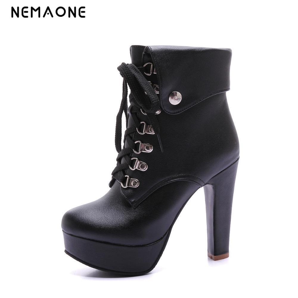 NEMAONE 2016 Women Chunky High Heel Ankle Boots Platform Heels for Women Fashion Lace Up Booties Shoes Plus Size High Quality designer luxury designer shoes women round toe high brand booties lace up platform ankle boots high quality espadrilles boot