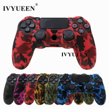 IVYUEEN For Sony Dualshock PS4 DS4 Slim Professional Controller Silicone Camo Case Protecting Pores and skin + Thumb Stick Caps for Play station 4
