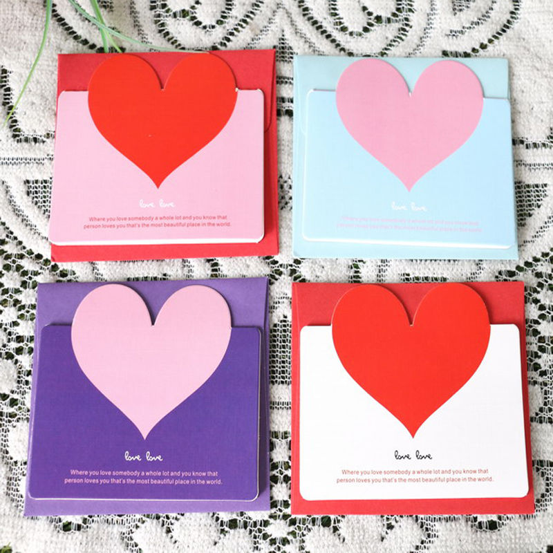 New Cute Lovely 3pcs Heart Shaped Birthday Christmas Greeting