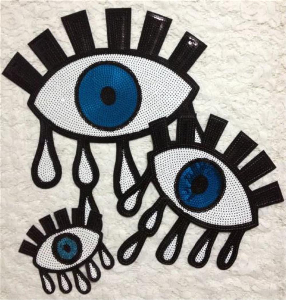 Patch eye sequins embroidered iron on patches for clothes