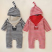 2018 New Newborn Infant Baby Kid Clothing Pants Warm Girls Boys Romper Jumpsuit Hat Saliva Towel