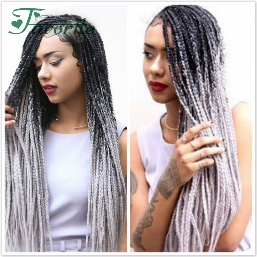 Ombre kanekalon braiding hair 24inch 100g synthetic two ...