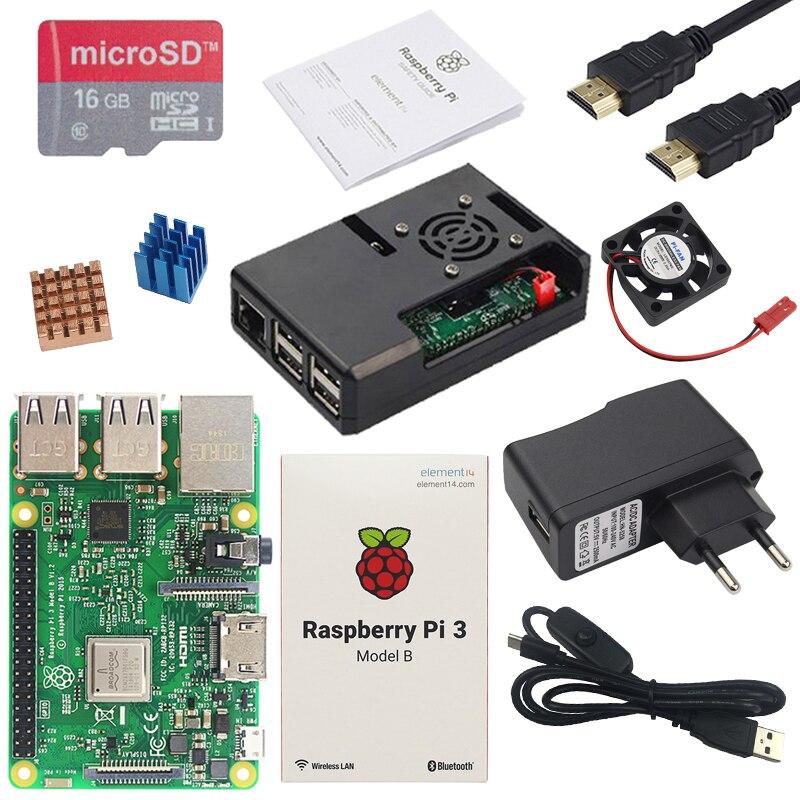 Carte d'origine Raspberry Pi 3B ou Raspberry Pi 3B + avec WiFi et Bluetooth intégrés + boîtier ABS + alimentation + dissipateur de chaleur RPI 3