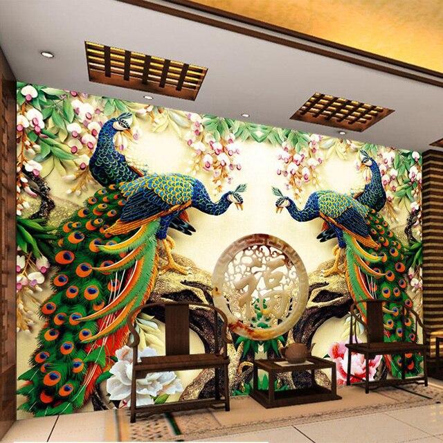 Foto Wallpaper Gaya Eropa Peacock Bunga 3D Lukisan Dinding