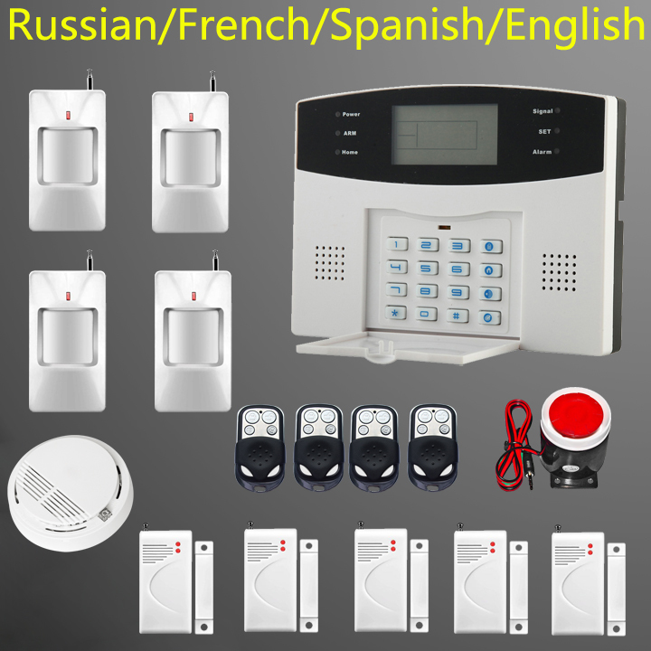 English Russian Spanish French Voice Wireless GSM Alarm system Home security Alarm systems with LCD Keyboard Sensor alarm(China (Mainland))