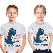 Children Short Sleeve New T-shirt Dinosaur Print Boys Girls Cartoon T Shirt 100% Cotton 2019 Summer Kids Casual Top