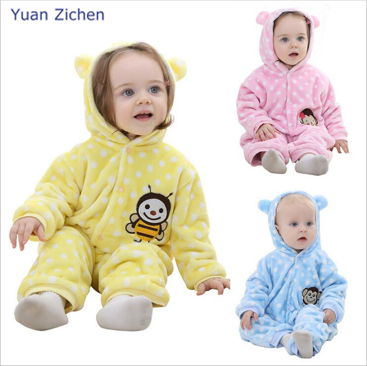 Baby clothing Spring and Autumn  Flannel Baby Boy girl Clothes Cartoon Animal Jumpsuits Infant Girl Rompers Baby Clothing