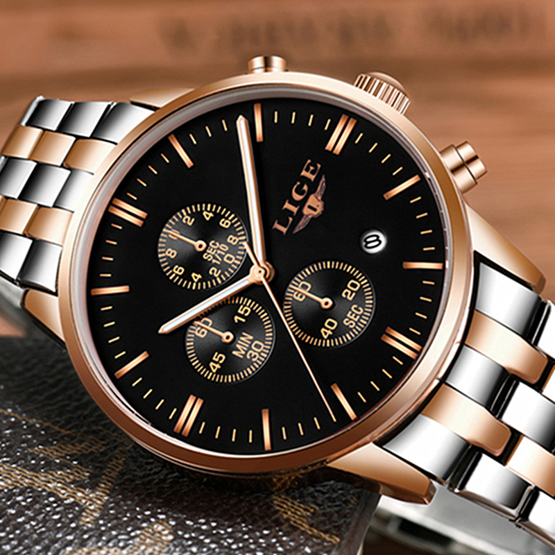 2017 LIGE Watches Men Top Brand Luxury Multifunction Chronograph Watch Golden Sports Clock Male Quartz-Watch Relogios Masculino