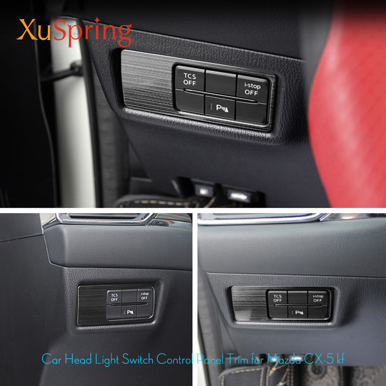 For Mazda CX-5 CX5 2017 2018 2019 Car Head Lamp Light Switch Headlight Adjustment Knob Panel Control Protective Trim Car Styling