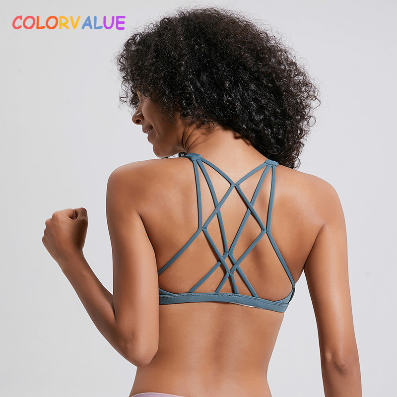 Colorvalue Sexy Cross Straps Gym Sports Bra Women Wireless Yoga Fitness Top Padded Push Up Yoga Bra Crop Top Activewear XS-XL