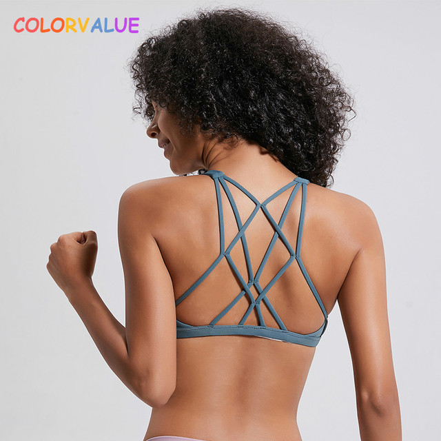 $ US $13.67 Colorvalue Sexy Cross Straps Gym Sports Bra Women Wireless Yoga Fitness Top Padded Push Up Yoga Bra Crop Top Activewear XS-XL