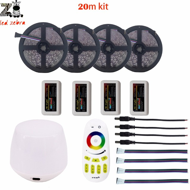 Highlight 5/10/15/20m rgbw rgbww 5050 SMD led strip light dc12v+mi.light 2.4G led controller+wifi controller+remote controller