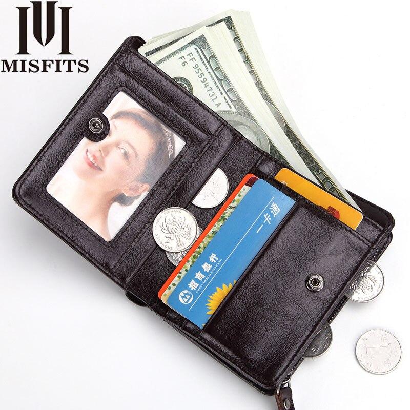MISFITS Brand Genuine Leather Men Wallets Cowhide Unisex RFID Anti Theft Scanning Short Wallet Fashion Women Zipper Coin Purse