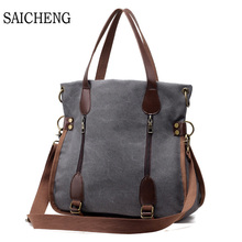 SAICHENG 2017 Fashion Big Women Canvas Bag Ladies Shoulder Bags Handbags Women Famous Brands Large Captain Casual Tote Bags Sac