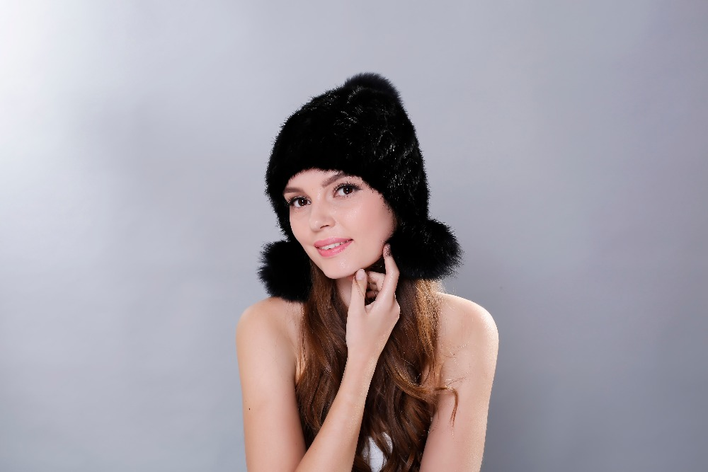 Hot sale real mink fur hat for women winter knitted mink fur beanies cap with fox fur pom poms 2017 brand new thick female cap  цена и фото