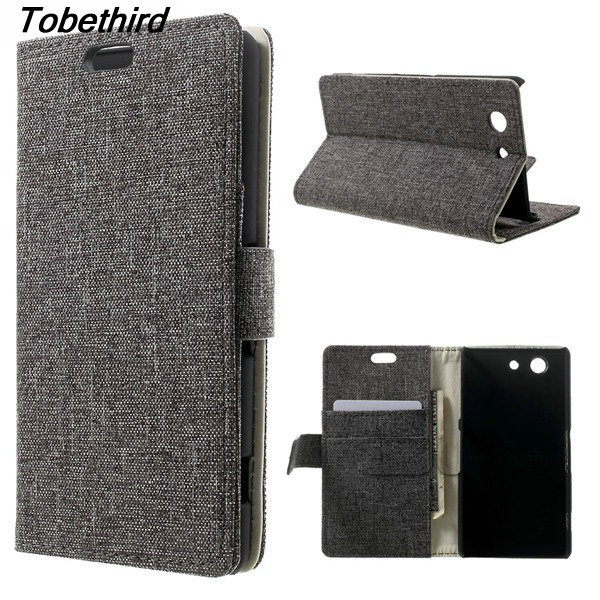 For Sony Z3 Compact Case Linen Skin Leather Case Cover With Card Slots for Sony Xperia Z3 Compact D5803 M55w Z5 Compact Z3 Z5 M4