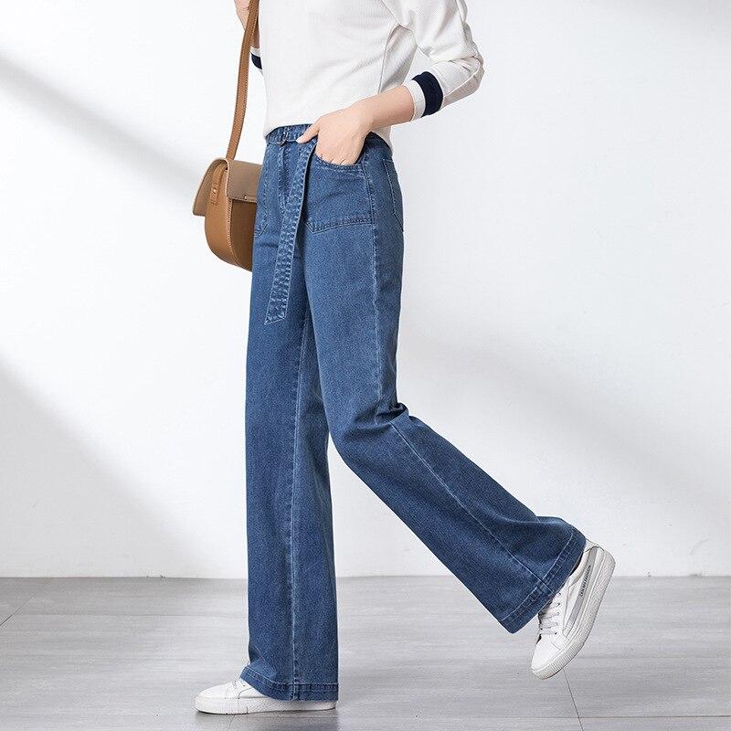 2019 spring new high waist women   jeans   pant female Korean version of wide-leg pants loose drape slim pants girl wholesale