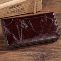 Oil Wax Cowhide Genuine Leather Men Long Wallet Solid Pocket Card Holder Zipper Bifold Coin Purse Vintage Male Clutch Hand Bags